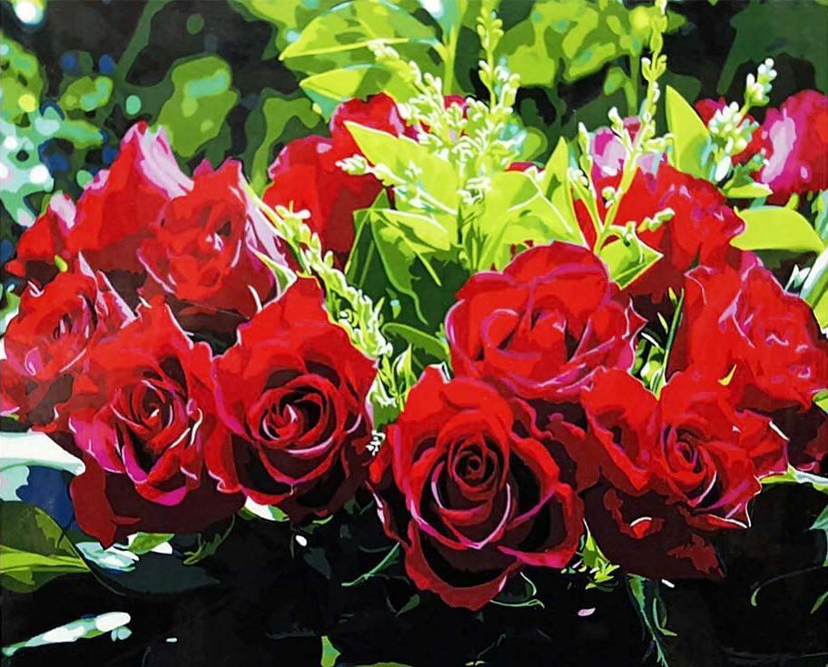 Купить Картина по номерам «Букет красных роз», Paintboy (Original)