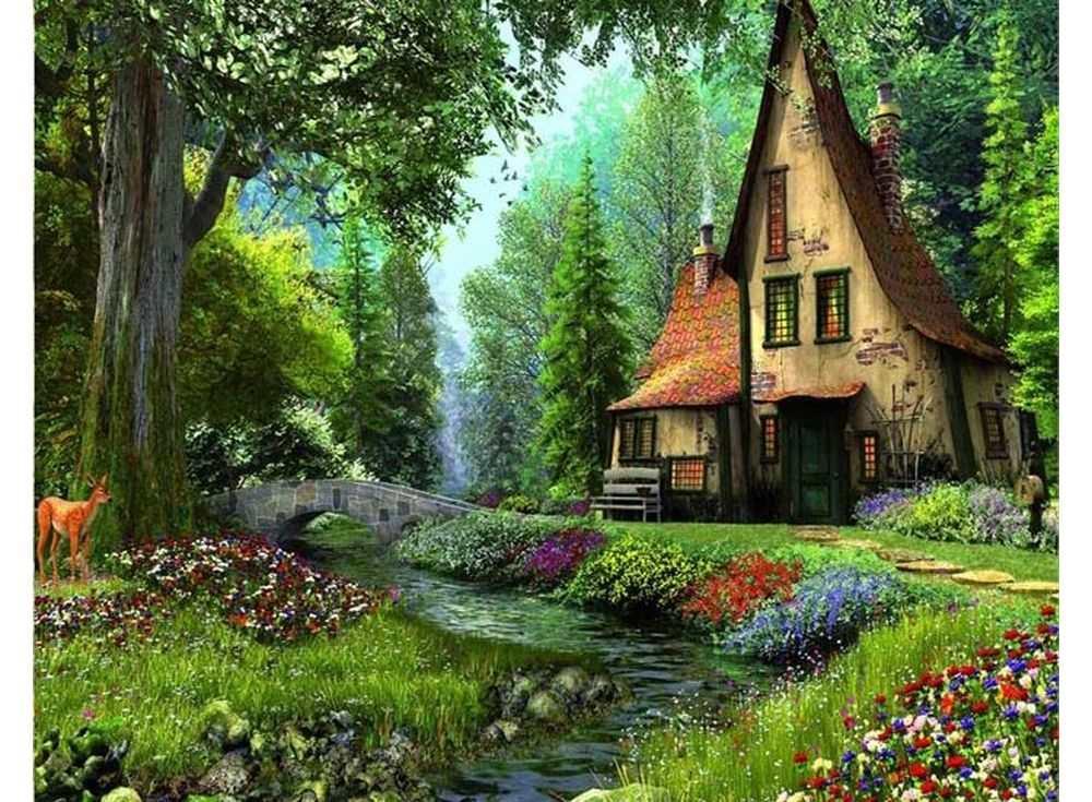 Картина по номерам «Домик в лесу»Раскраски по номерам Paintboy (Original)<br><br><br>Артикул: GX3222_R<br>Основа: Холст<br>Сложность: средние<br>Размер: 40x50 см<br>Количество цветов: 24<br>Техника рисования: Без смешивания красок