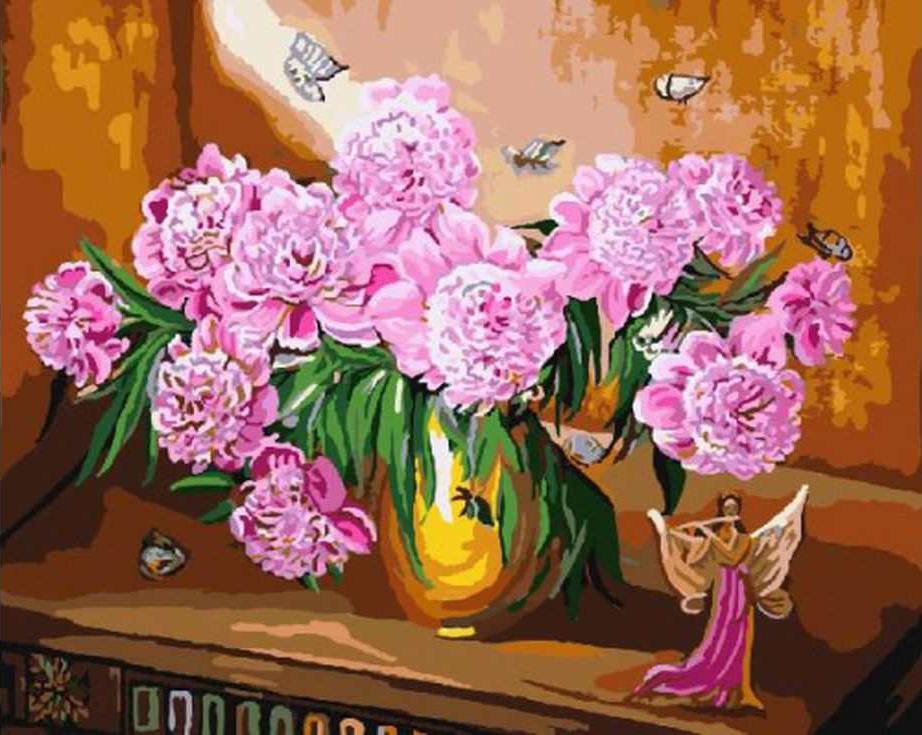 «Розовые пионы»Раскраски по номерам Paintboy (Original)<br><br><br>Артикул: GX3234_R<br>Основа: Холст<br>Сложность: средние<br>Размер: 40x50 см<br>Количество цветов: 27<br>Техника рисования: Без смешивания красок