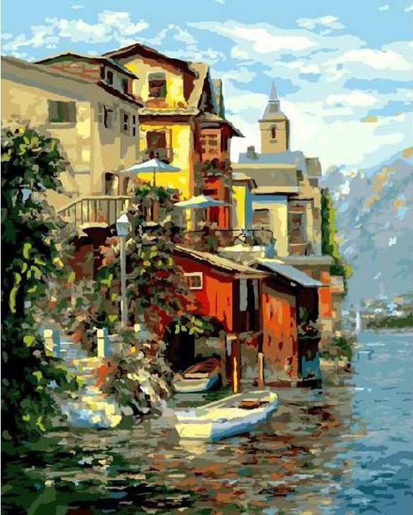 «Город на озере»Paintboy (Premium)<br><br><br>Артикул: GX3238<br>Основа: Холст<br>Сложность: сложные<br>Размер: 40x50 см<br>Количество цветов: 28<br>Техника рисования: Без смешивания красок