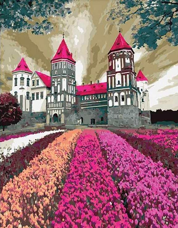 Картина по номерам «Замок в цветах»Раскраски по номерам Paintboy (Original)<br><br><br>Артикул: GX3288_R<br>Основа: Холст<br>Сложность: средние<br>Размер: 40x50 см<br>Количество цветов: 27<br>Техника рисования: Без смешивания красок