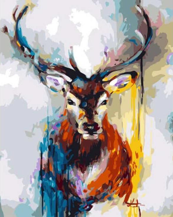 Картина по номерам «Цветной олень»Цветной (Standart)<br><br><br>Артикул: GX3303_Z<br>Основа: Холст<br>Сложность: средние<br>Размер: 40x50 см<br>Количество цветов: 24<br>Техника рисования: Без смешивания красок