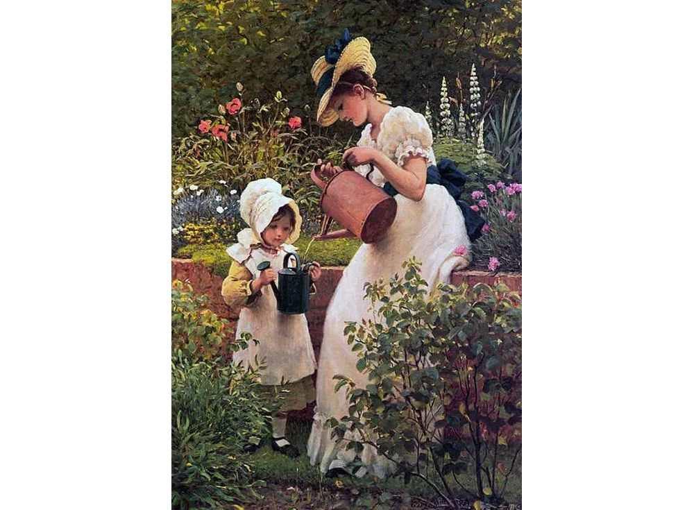 Картина по номерам «Юная садовница» Джорджа Данлопа ЛеслиРаскраски по номерам Paintboy (Original)<br><br><br>Артикул: GX3391_R<br>Основа: Холст<br>Сложность: средние<br>Размер: 40x50 см<br>Количество цветов: 24<br>Техника рисования: Без смешивания красок