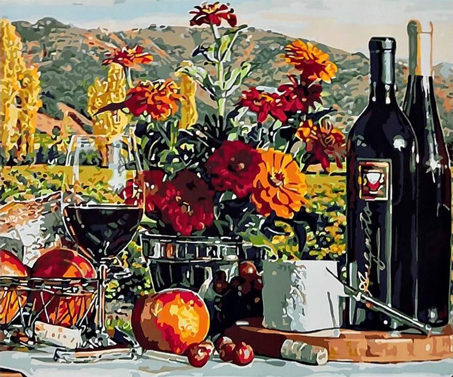 «Натюрморт с вином» Эрика КристенсенаPaintboy (Premium)<br><br><br>Артикул: GX3597<br>Основа: Холст<br>Сложность: средние<br>Размер: 40x50<br>Количество цветов: 26<br>Техника рисования: Без смешивания красок