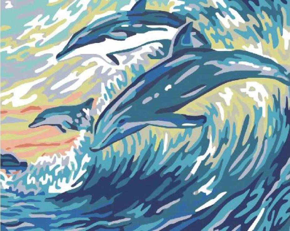 «Дельфины на волнах»Раскраски по номерам Paintboy (Original)<br><br><br>Артикул: GX6317_R<br>Основа: Холст<br>Сложность: легкие<br>Размер: 40x50 см<br>Количество цветов: 12<br>Техника рисования: Без смешивания красок