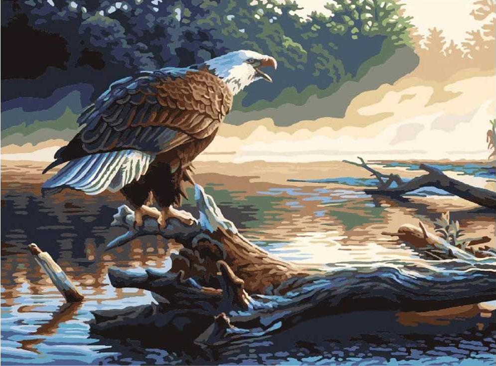 «Охота на реке» Грега АлександераРаскраски по номерам Paintboy (Original)<br><br><br>Артикул: GX6736_R<br>Основа: Холст<br>Сложность: средние<br>Размер: 40x50 см<br>Количество цветов: 22<br>Техника рисования: Без смешивания красок