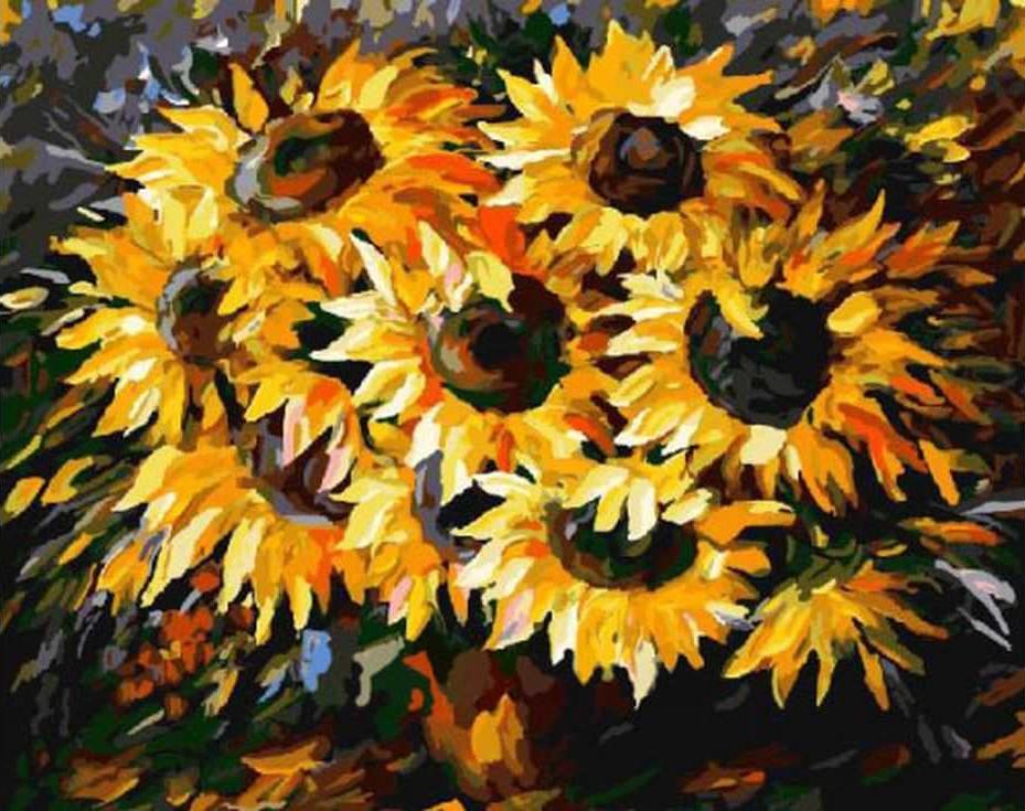 Картина по номерам «Солнечный букет» Леонида АфремоваРаскраски по номерам Paintboy (Original)<br><br><br>Артикул: GX6783_R<br>Основа: Холст<br>Сложность: средние<br>Размер: 40x50 см<br>Количество цветов: 25<br>Техника рисования: Без смешивания красок