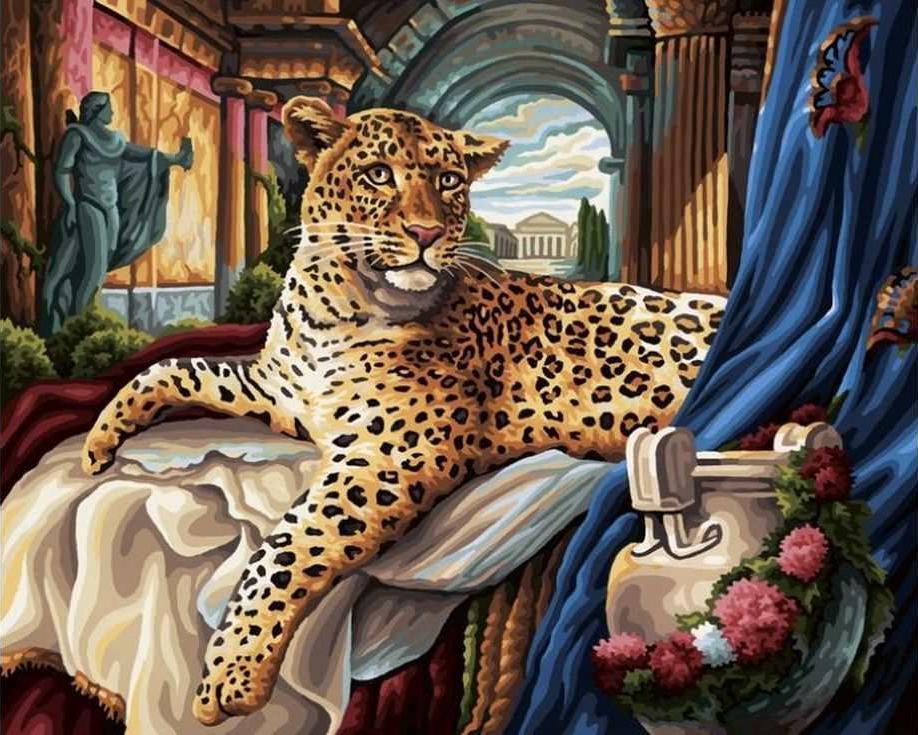 «Римский леопард»Раскраски по номерам Paintboy (Original)<br><br><br>Артикул: GX6787_R<br>Основа: Холст<br>Сложность: средние<br>Размер: 40x50 см<br>Количество цветов: 25<br>Техника рисования: Без смешивания красок