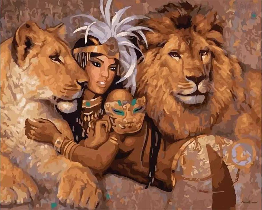 «Клеопатра со львами»Раскраски по номерам Paintboy (Original)<br><br><br>Артикул: GX6948_R<br>Основа: Холст<br>Сложность: сложные<br>Размер: 40x50 см<br>Количество цветов: 28<br>Техника рисования: Без смешивания красок