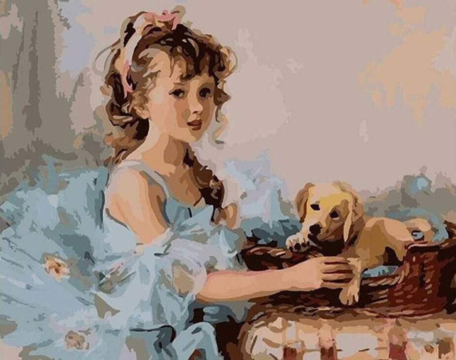 Картина по номерам «Девочка и щенок»Paintboy (Premium)<br><br><br>Артикул: GX7037<br>Основа: Холст<br>Сложность: средние<br>Размер: 40x50 см<br>Количество цветов: 29<br>Техника рисования: Без смешивания красок
