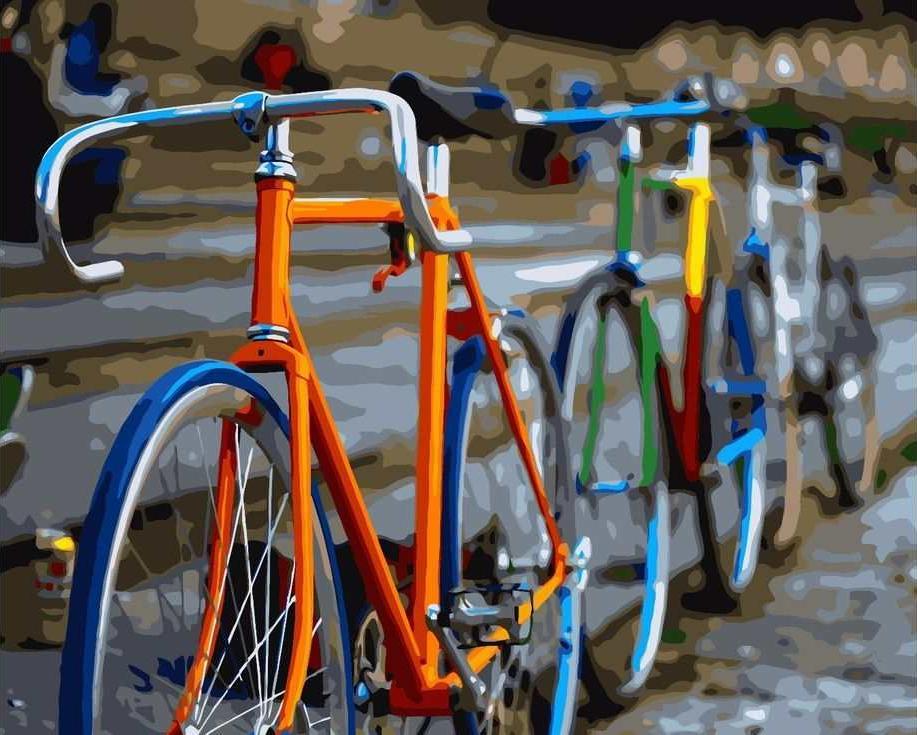 «Разноцветные велосипеды»Раскраски по номерам Paintboy (Original)<br><br><br>Артикул: GX7103_R<br>Основа: Холст<br>Сложность: средние<br>Размер: 40x50 см<br>Количество цветов: 24<br>Техника рисования: Без смешивания красок