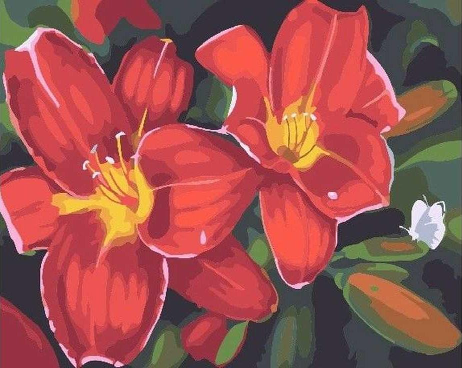 «Красные лилии»Раскраски по номерам Paintboy (Original)<br><br><br>Артикул: GX7262_R<br>Основа: Холст<br>Сложность: легкие<br>Размер: 40x50 см<br>Количество цветов: 19<br>Техника рисования: Без смешивания красок