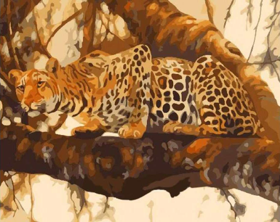 Картина по номерам «Притаившийся леопард»Раскраски по номерам Paintboy (Original)<br><br><br>Артикул: GX7274_R<br>Основа: Холст<br>Сложность: средние<br>Размер: 40x50 см<br>Количество цветов: 24<br>Техника рисования: Без смешивания красок