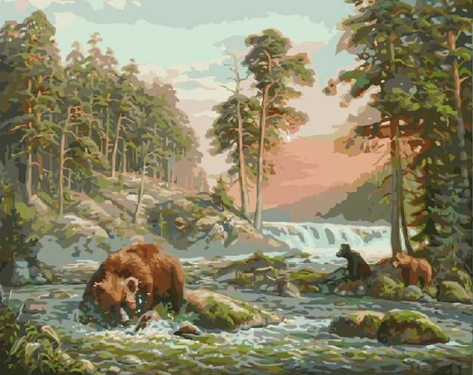 «Медведица на охоте»Paintboy (Premium)<br><br><br>Артикул: GX7404<br>Основа: Холст<br>Сложность: сложные<br>Размер: 40x50 см<br>Количество цветов: 28<br>Техника рисования: Без смешивания красок