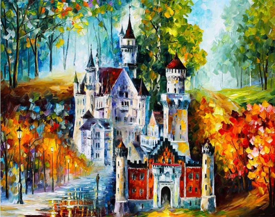 «Осенний Нойшванштайн»Раскраски по номерам Paintboy (Original)<br><br><br>Артикул: GX7622_R<br>Основа: Холст<br>Сложность: средние<br>Размер: 40x50 см<br>Количество цветов: 24<br>Техника рисования: Без смешивания красок