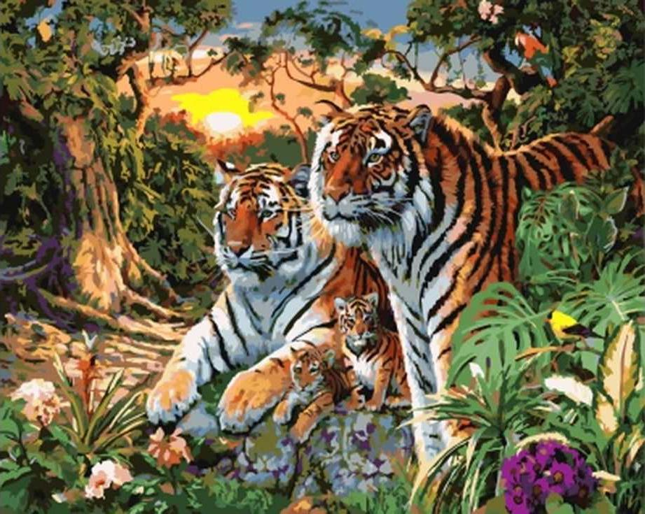 «Семейство тигров»Раскраски по номерам Paintboy (Original)<br><br><br>Артикул: GX7861_R<br>Основа: Холст<br>Сложность: сложные<br>Размер: 40x50 см<br>Количество цветов: 28<br>Техника рисования: Без смешивания красок