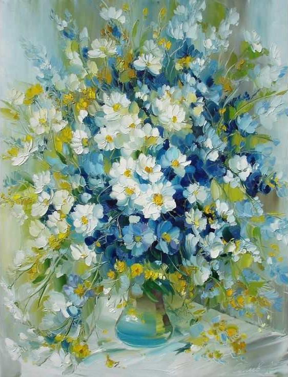 «Бело-голубой букет»Раскраски по номерам Paintboy (Original)<br><br><br>Артикул: GX8011_R<br>Основа: Холст<br>Сложность: средние<br>Размер: 40x50 см<br>Количество цветов: 24<br>Техника рисования: Без смешивания красок