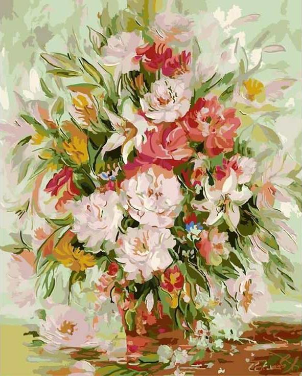 «Нежные цветы»Раскраски по номерам Paintboy (Original)<br><br><br>Артикул: GX8016_R<br>Основа: Холст<br>Сложность: средние<br>Размер: 40x50 см<br>Количество цветов: 25<br>Техника рисования: Без смешивания красок