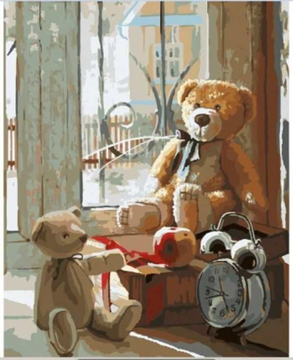 Картина по номерам «Плюшевые медведи»Раскраски по номерам Paintboy (Original)<br><br><br>Артикул: GX8158_R<br>Основа: Холст<br>Сложность: сложные<br>Размер: 40x50 см<br>Количество цветов: 28<br>Техника рисования: Без смешивания красок