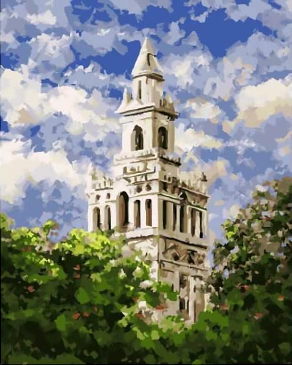 Картина по номерам «Церковь» Фахида НасираPaintboy (Premium)<br><br><br>Артикул: GX8250<br>Основа: Холст<br>Сложность: средние<br>Размер: 40x50 см<br>Количество цветов: 25<br>Техника рисования: Без смешивания красок