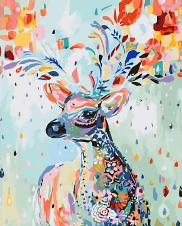 Картина по номерам «Сказочный олень»Раскраски по номерам Paintboy (Original)<br><br><br>Артикул: GX8493_R<br>Основа: Холст<br>Сложность: средние<br>Размер: 40x50 см<br>Количество цветов: 26<br>Техника рисования: Без смешивания красок