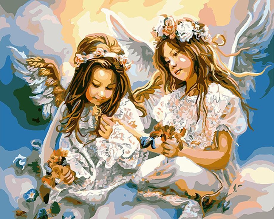 «Подарок от ангела» Сандры КукЦветной (Standart)<br><br><br>Артикул: GX8963_Z<br>Основа: Холст<br>Сложность: сложные<br>Размер: 40x50 см<br>Количество цветов: 25<br>Техника рисования: Без смешивания красок