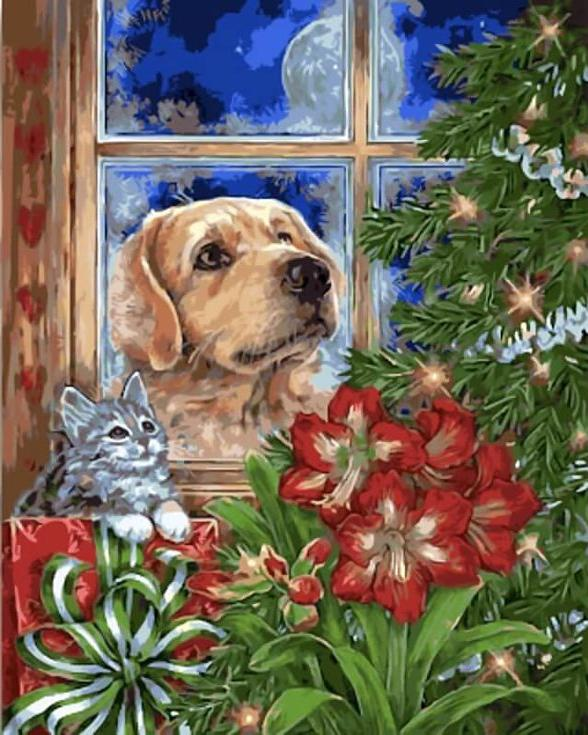 «В ожидании Рождества» Донны РайсЦветной (Standart)<br><br><br>Артикул: GX9660_Z<br>Основа: Холст<br>Сложность: сложные<br>Размер: 40x50 см<br>Количество цветов: 25<br>Техника рисования: Без смешивания красок