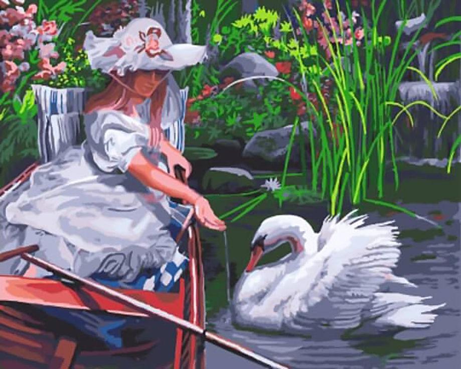 «Лебединое озеро» Кевина ДаниэляЦветной (Standart)<br><br><br>Артикул: GX9724_Z<br>Основа: Холст<br>Сложность: сложные<br>Размер: 40x50 см<br>Количество цветов: 25<br>Техника рисования: Без смешивания красок