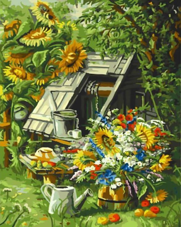 Картина по номерам «Деревенский пейзаж»Цветной (Standart)<br><br><br>Артикул: GX9734_Z<br>Основа: Холст<br>Сложность: сложные<br>Размер: 40x50 см<br>Количество цветов: 25<br>Техника рисования: Без смешивания красок