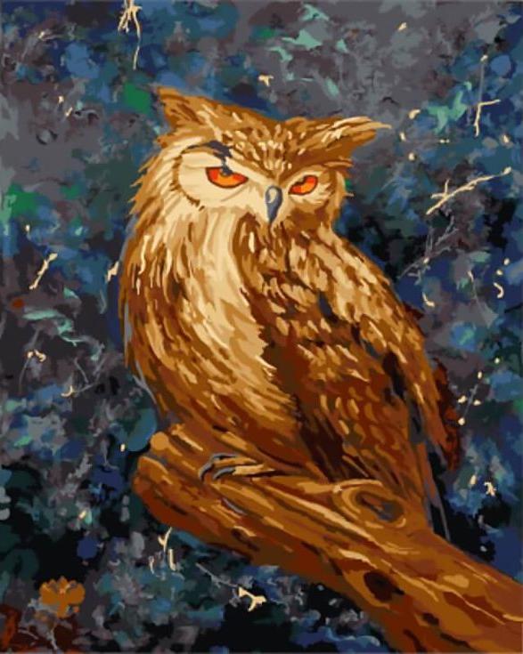 «Мудрая сова»Цветной (Standart)<br><br><br>Артикул: GX9749_Z<br>Основа: Холст<br>Сложность: сложные<br>Размер: 40x50 см<br>Количество цветов: 25<br>Техника рисования: Без смешивания красок