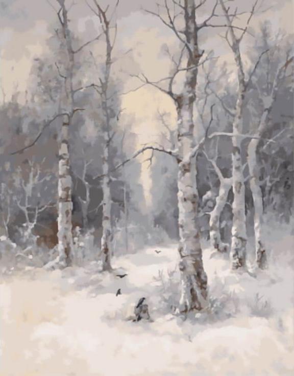 «Зимний пейзаж» Карла РозенаЦветной (Standart)<br><br><br>Артикул: GX9757_Z<br>Основа: Холст<br>Сложность: сложные<br>Размер: 40x50 см<br>Количество цветов: 25<br>Техника рисования: Без смешивания красок