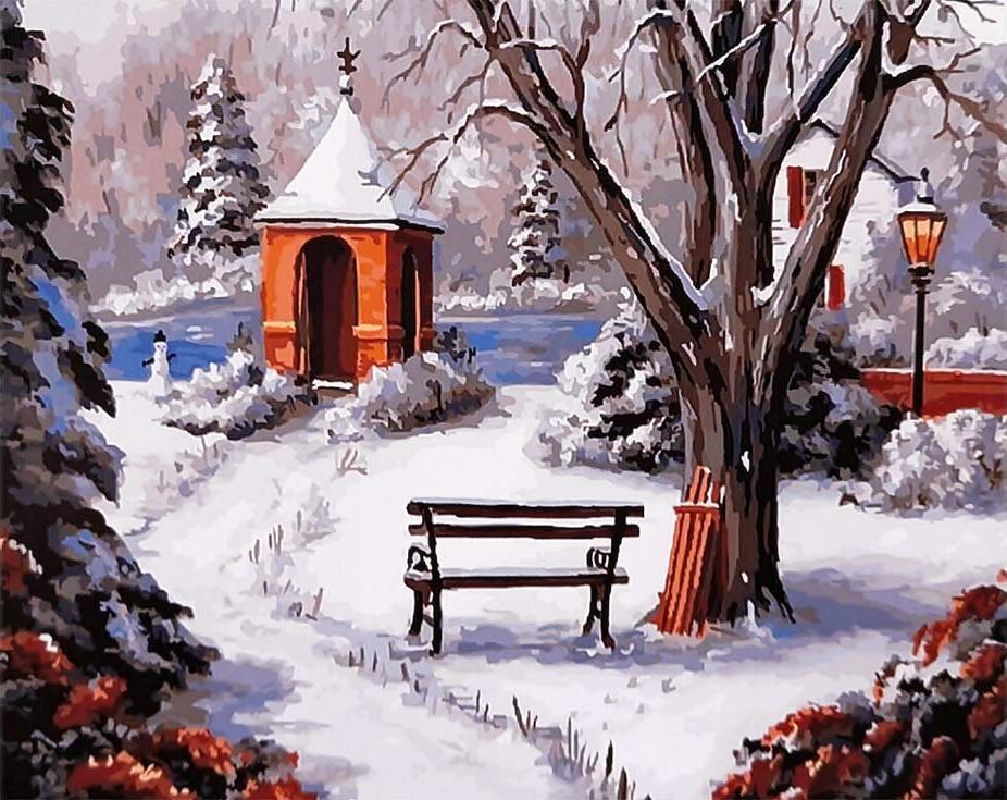 Картина по номерам «Зимняя сторожка» Барбары ФелискиPaintboy (Premium)<br><br><br>Артикул: GX9759<br>Основа: Холст<br>Сложность: сложные<br>Размер: 40x50 см<br>Количество цветов: 28<br>Техника рисования: Без смешивания красок
