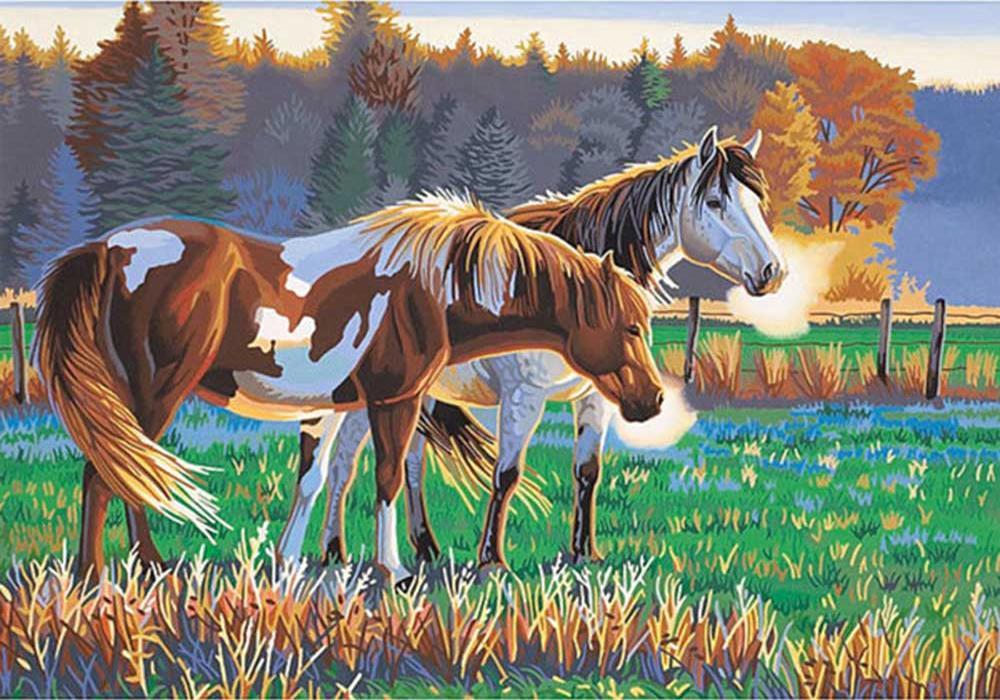 Картина по номерам «Кони на пастбище»Цветной (Standart)<br><br><br>Артикул: GX9865_Z<br>Основа: Холст<br>Сложность: сложные<br>Размер: 40x50 см<br>Количество цветов: 25<br>Техника рисования: Без смешивания красок