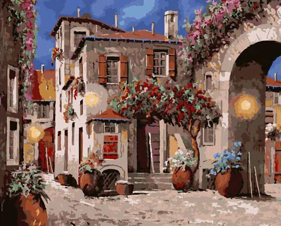 «Тихий дворик»Раскраски по номерам Paintboy (Original)<br><br><br>Артикул: GX9938_R<br>Основа: Холст<br>Сложность: сложные<br>Размер: 40x50 см<br>Количество цветов: 28<br>Техника рисования: Без смешивания красок