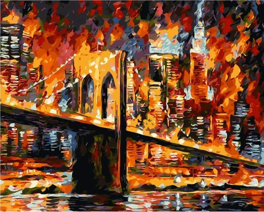 «Бруклинский мост» Леонида АфремоваРаскраски по номерам Menglei (Standart)<br><br><br>Артикул: MG7631_S<br>Основа: Холст<br>Сложность: средние<br>Размер: 40x50 см<br>Количество цветов: 23<br>Техника рисования: Без смешивания красок