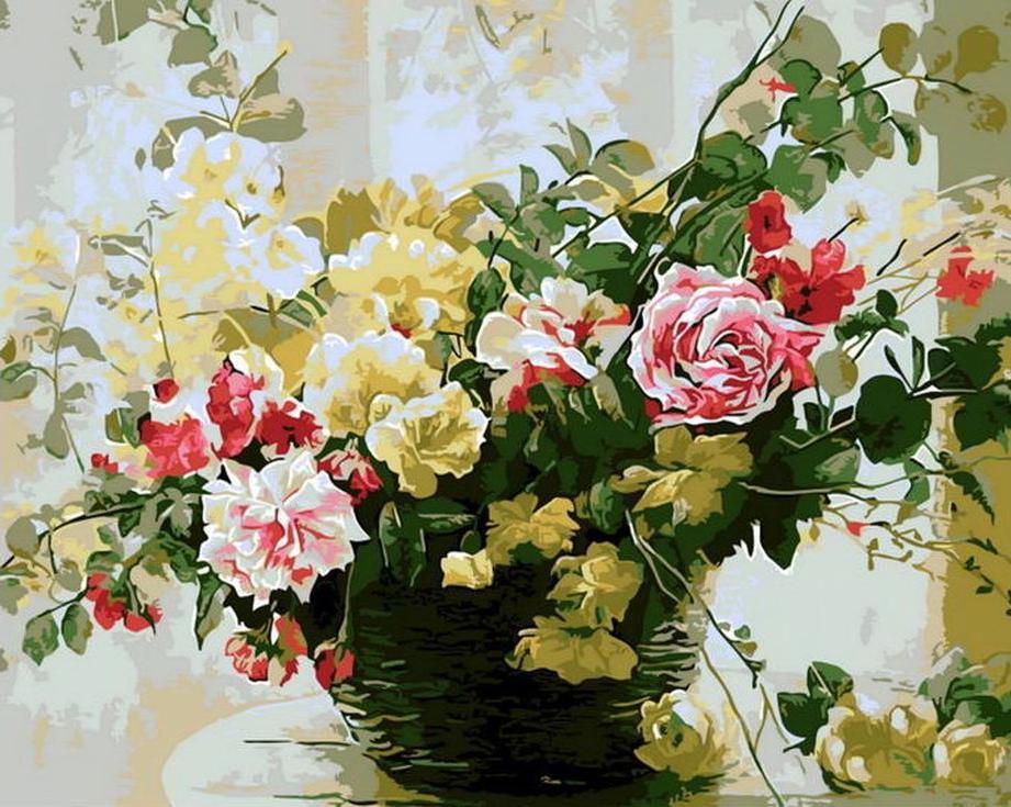 «Букет в плетеной вазе»Раскраски по номерам Menglei (Standart)<br><br><br>Артикул: MG7666_S<br>Основа: Холст<br>Сложность: средние<br>Размер: 40x50 см<br>Количество цветов: 23<br>Техника рисования: Без смешивания красок