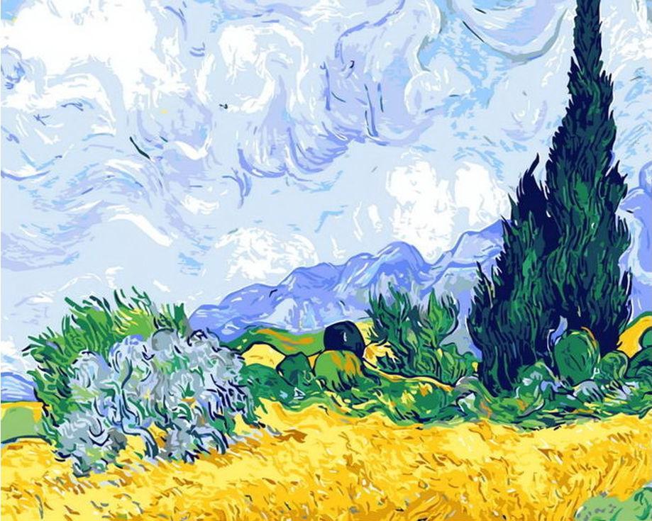 «Пшеничное поле с кипарисами» Ван ГогаРаскраски по номерам Menglei (Standart)<br><br><br>Артикул: MG7757_S<br>Основа: Холст<br>Сложность: сложные<br>Размер: 40x50 см<br>Количество цветов: 25<br>Техника рисования: Без смешивания красок