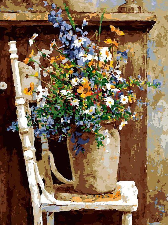 «Цветы на стуле»Раскраски по номерам Menglei (Standart)<br><br><br>Артикул: MG7985_S<br>Основа: Холст<br>Сложность: средние<br>Размер: 40x50 см<br>Количество цветов: 21<br>Техника рисования: Без смешивания красок