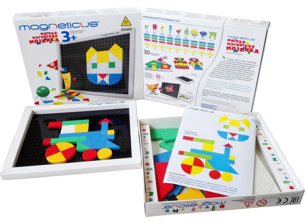 Магнитная мозаика (145 элементов, 5 цветов)Магнитные наборы<br>Мозаика в форме игры прекрасно развивает логическое мышление, усидчивость, мелкую моторику, зрительную память. Рекомендуется детям в возрасте от 3 лет.<br> <br> Преимущества магнитной мозаики:<br> - Детали из высококачественного полимерного материала с магнитно...<br><br>Артикул: MM-146<br>Количество цветов: 5<br>Размер упаковки: 26x21,5x3,5 см<br>Возраст: от 3 лет