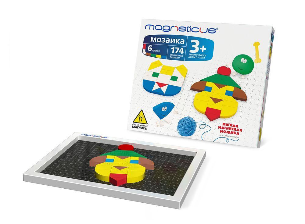 Магнитная мозаика (174 элемента, 6 цветов)Магнитные наборы<br>Мозаика в форме игры прекрасно развивает логическое мышление, усидчивость, мелкую моторику, зрительную память. Рекомендуется детям в возрасте от 3 лет.<br> <br> Преимущества магнитной мозаики:<br> - Детали из высококачественного полимерного материала с магнитно...<br><br>Артикул: MM-174<br>Количество цветов: 6<br>Размер упаковки: 30x26x5,5 см<br>Возраст: от 3 лет