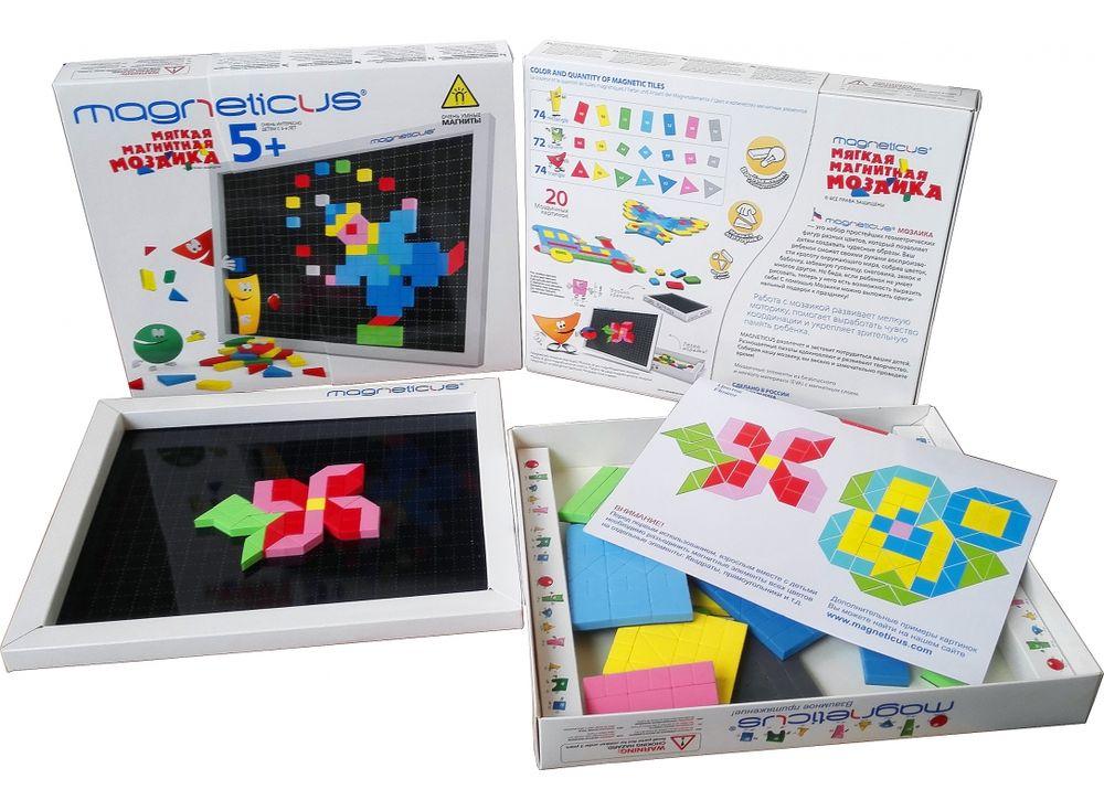 Магнитная мозаика (220 элементов, 7 цветов)Магнитные наборы<br>Мозаика в форме игры прекрасно развивает логическое мышление, усидчивость, мелкую моторику, зрительную память. Рекомендуется детям в возрасте от 5 лет.<br> <br> Преимущества магнитной мозаики:<br> - Детали из высококачественного полимерного материала с магнитно...<br><br>Артикул: MM-220<br>Количество цветов: 7<br>Размер упаковки: 26x21,5x3,5 см<br>Возраст: от 5 лет