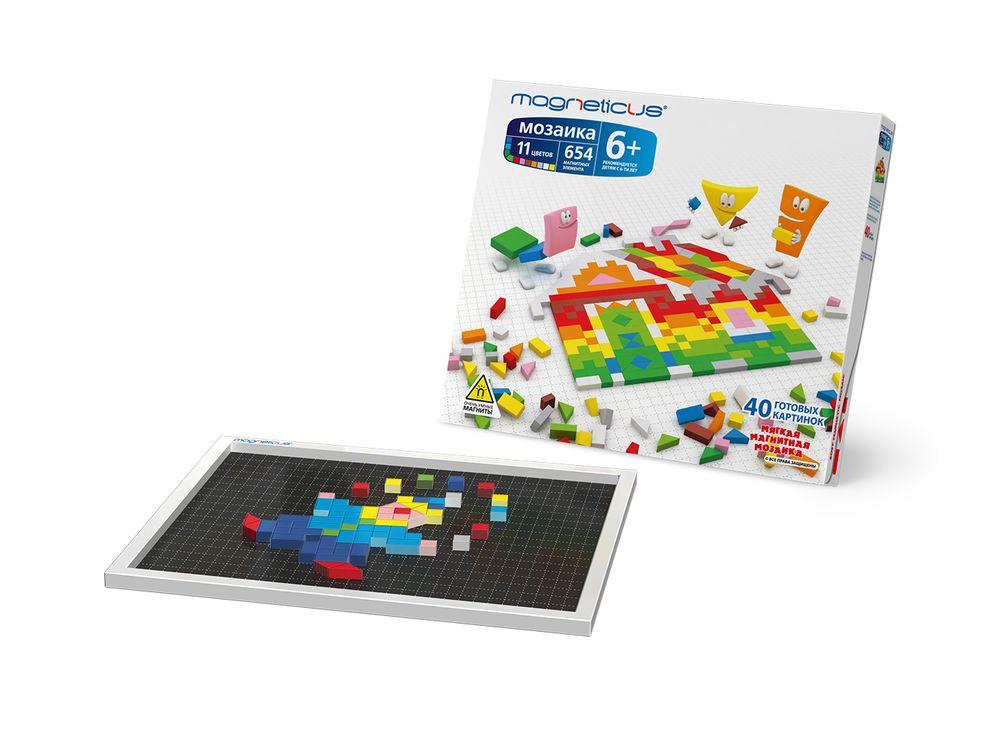 Магнитная мозаика (654 элемента, 11 цветов)Магнитные наборы<br>Мозаика в форме игры прекрасно развивает логическое мышление, усидчивость, мелкую моторику, зрительную память. Рекомендуется детям в возрасте от 6 лет.<br> <br> Преимущества магнитной мозаики:<br> - Детали из высококачественного полимерного материала с магнитно...<br><br>Артикул: MM-650<br>Количество цветов: 11<br>Размер упаковки: 43x28x3 см<br>Возраст: от 6 лет