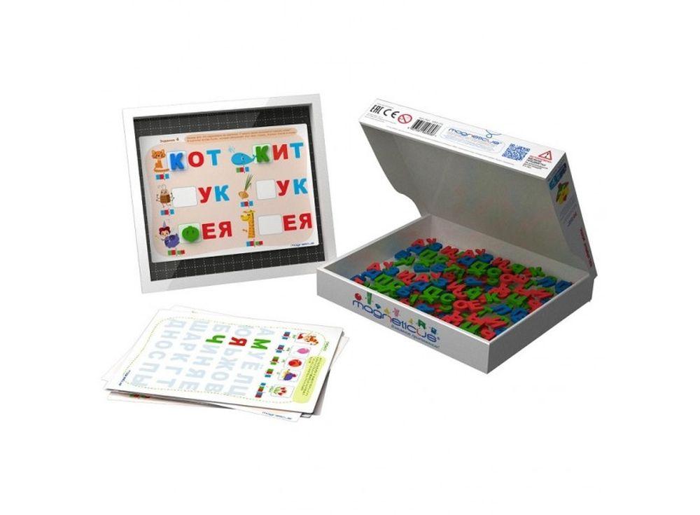 Мягкая магнитная азбука «Буквы и звуки»Магнитные наборы<br>Мягкая магнитная азбука в форме игры познакомит ребенка с алфавитом, принципом чтения по слогам, развивает логическое мышление, усидчивость, мелкую моторику, зрительную память. Рекомендуется детям в возрасте от 3 лет.<br> <br> Преимущества магнитной азбуки:<br>...<br><br>Артикул: OBU-004<br>Размер упаковки: 26x21,5x3,5 см<br>Возраст: от 5 лет