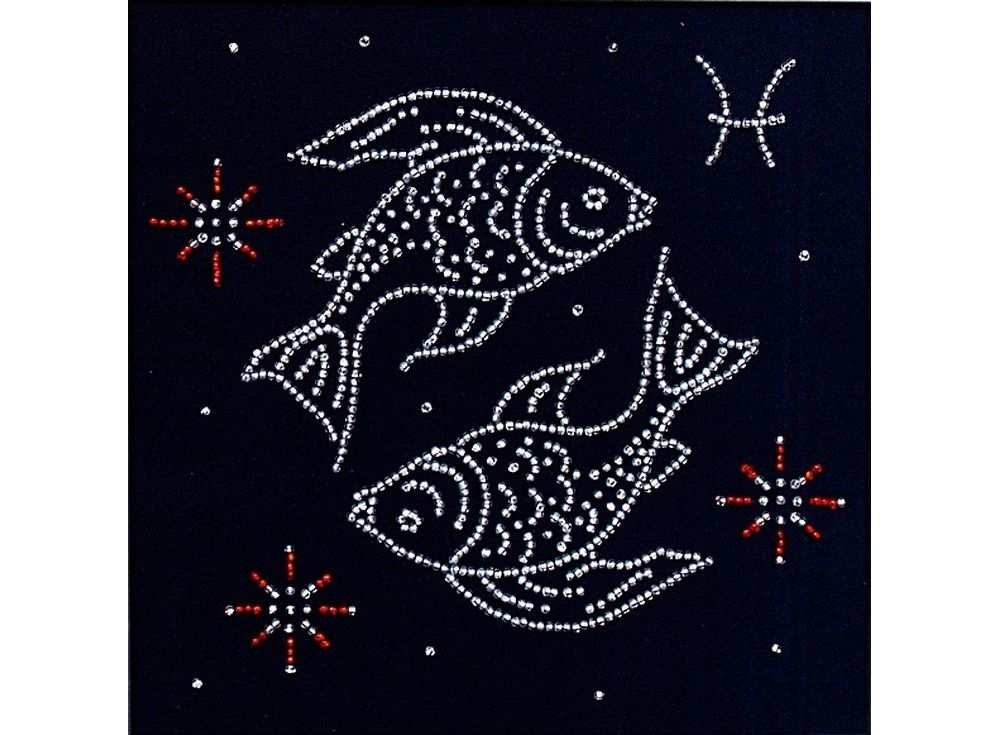 Набор вышивки бисером «Гороскоп. Рыбы»Вышивка бисером Магия канвы<br><br><br>Артикул: БГ-002<br>Основа: ткань<br>Размер: 18x18 см<br>Техника вышивки: бисер<br>Тип схемы вышивки: Цветная схема<br>Заполнение: Частичное<br>Рисунок на канве: нанесён рисунок<br>Техника: Вышивка бисером
