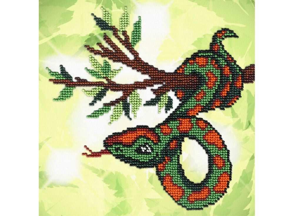 Набор вышивки бисером «Змейка на ветке»Вышивка бисером МП-студия<br><br><br>Артикул: БГ-170<br>Основа: габардин<br>Размер: 18х18 см<br>Техника вышивки: бисер<br>Тип схемы вышивки: Цветная схема<br>Количество цветов: 9<br>Заполнение: Частичное<br>Рисунок на канве: нанесён рисунок и схема<br>Техника: Вышивка бисером
