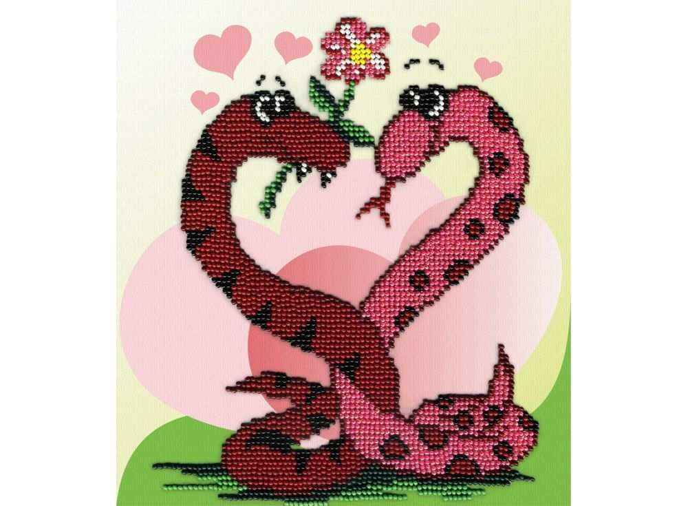 Набор вышивки бисером «Змейки с сердечком»Вышивка бисером МП-студия<br><br><br>Артикул: БГ-175<br>Основа: габардин<br>Размер: 20х18 см<br>Техника вышивки: бисер<br>Тип схемы вышивки: Цветная схема<br>Количество цветов: 8<br>Заполнение: Частичное<br>Рисунок на канве: нанесён рисунок и схема<br>Техника: Вышивка бисером