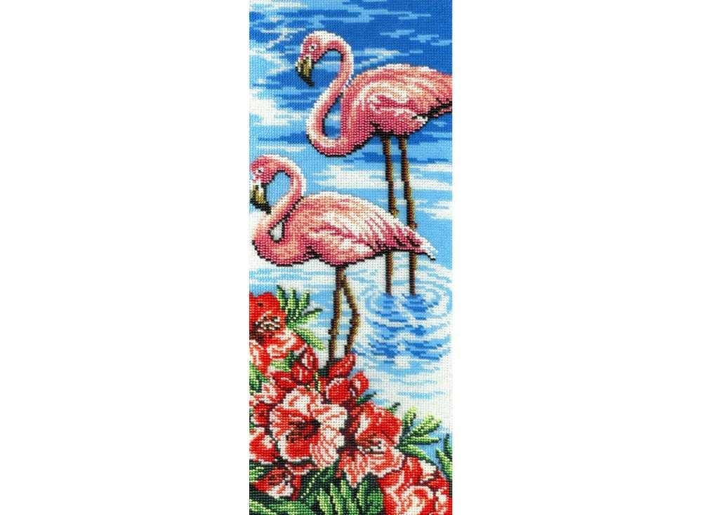 Набор вышивки бисером «Фламинго»Вышивка бисером МП-студия<br><br><br>Артикул: БГ-181<br>Основа: габардин<br>Размер: 40х15 см<br>Техника вышивки: бисер<br>Тип схемы вышивки: Цветная схема<br>Количество цветов: 16<br>Заполнение: Частичное<br>Рисунок на канве: нанесён рисунок и схема<br>Техника: Вышивка бисером