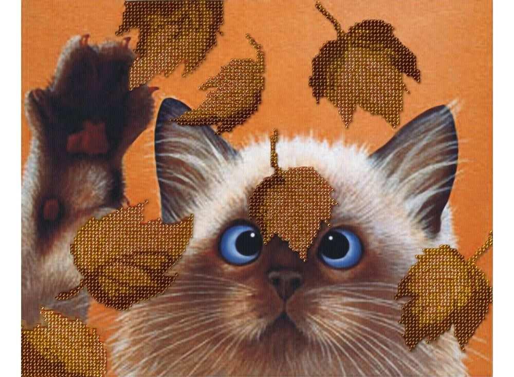 Набор вышивки бисером «Котик в листьях»Вышивка бисером МП-студия<br><br><br>Артикул: БГ-182<br>Основа: габардин<br>Размер: 22х28 см<br>Техника вышивки: бисер<br>Тип схемы вышивки: Цветная схема<br>Количество цветов: 3<br>Заполнение: Частичное<br>Рисунок на канве: нанесён рисунок и схема<br>Техника: Вышивка бисером