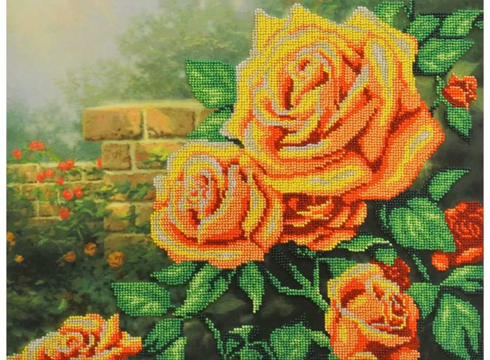 Набор вышивки бисером «Желтые розы»Вышивка бисером МП-студия<br><br><br>Артикул: БГ-232<br>Основа: габардин<br>Размер: 28х35 см<br>Техника вышивки: бисер<br>Тип схемы вышивки: Цветная схема<br>Количество цветов: 11<br>Заполнение: Частичное<br>Рисунок на канве: нанесён рисунок и схема<br>Техника: Вышивка бисером