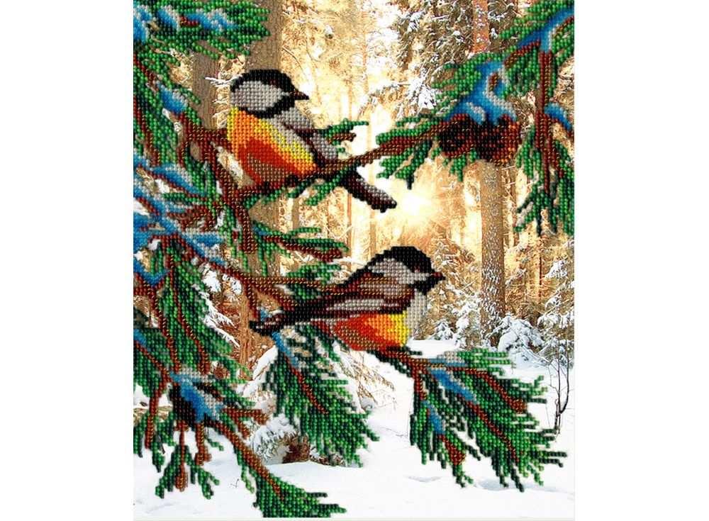 Набор вышивки бисером «Птички в лесу»Вышивка бисером МП-студия<br><br><br>Артикул: БГ-233<br>Основа: габардин<br>Размер: 28х35 см<br>Техника вышивки: бисер<br>Тип схемы вышивки: Цветная схема<br>Количество цветов: 16<br>Заполнение: Частичное<br>Рисунок на канве: нанесён рисунок и схема<br>Техника: Вышивка бисером